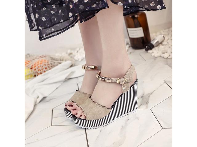 PU Buckle Ankle Strap Plain Womens Wedge Sandals | free-classifieds-usa.com