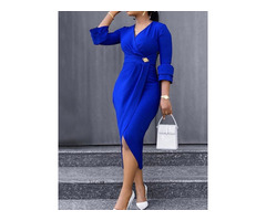 V-Neck Split Mid-Calf Plain High Waist Womens Dress