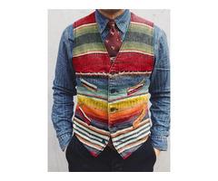 V-Neck Color Block European Mens Waistcoat
