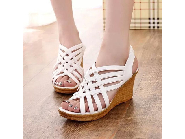 PU Strappy Platform Wedge Heel Womens Sandals | free-classifieds-usa.com