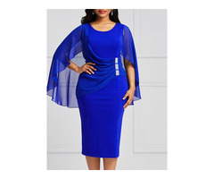 Batwing Sleeve Pleated Plain Womens Bodycon Dress
