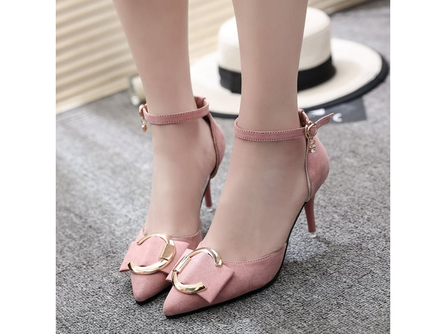 Suede Fabric Buckle Pointed Toe Stiletto Pumps | free-classifieds-usa.com