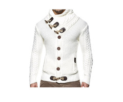 Tidebuy Vintage Plain Turtleneck Button Mens Sweater
