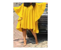 Nine Points Sleeve Round Neck Knee-Length High Waist Plain Womens Dress