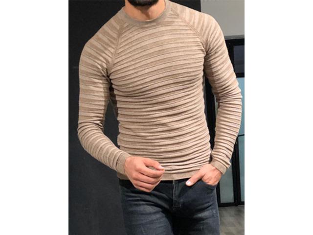 Patchwork Round Neck Standard Slim Mens Sweater | free-classifieds-usa.com