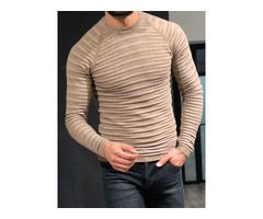 Patchwork Round Neck Standard Slim Mens Sweater