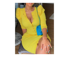 Round Neck Pleated Above Knee Single-Breasted Plain Womens Dress | free-classifieds-usa.com
