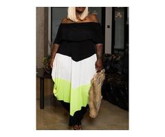 Off Shoulder Ankle-Length Half Sleeve Color Block Summer Womens Dress | free-classifieds-usa.com