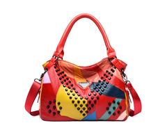 Women Genuine Leather Rivet Fashion Patchwork Handbag