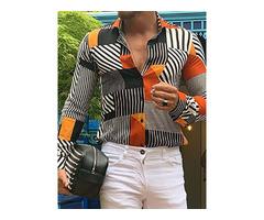 Geometric Lapel European Slim Mens Shirt