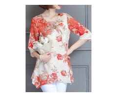 Chiffon Floral Print Three Quarter Sleeve Blouse