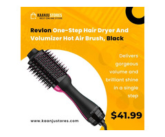 Revlon One-Step Hair Dryer And Volumizer Hot Air Brush, Black - kaanjustores.com
