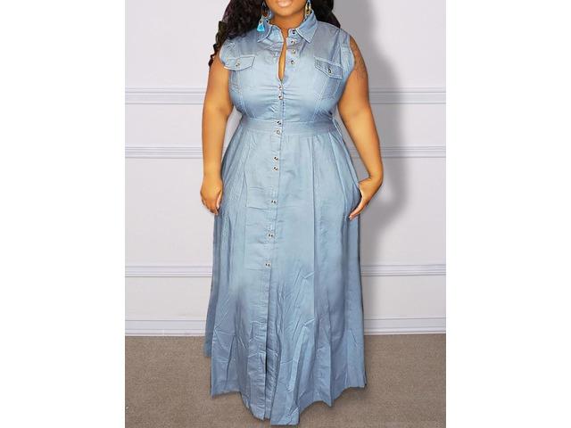 Button Lapel Sleeveless A-Line PlusSize Womens Dress | free-classifieds-usa.com