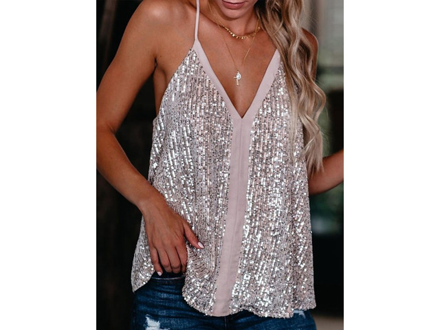 Sequins Spaghetti Straps Loose Style Womens Tank Top | free-classifieds-usa.com