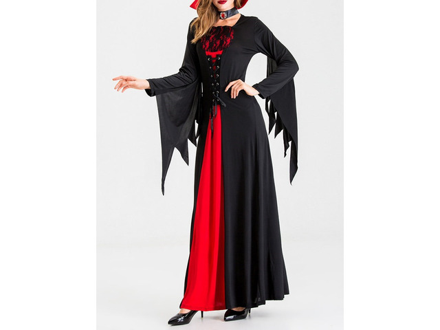 Halloween Color Block Long Sleeve Patchwork Cotton Blends All-Season Womens Costumes   free-classifieds-usa.com