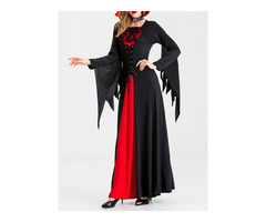 Halloween Color Block Long Sleeve Patchwork Cotton Blends All-Season Womens Costumes