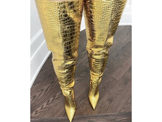 Pointed Toe Back Zip Metallic Customized Thigh High Boots | free-classifieds-usa.com