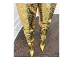 Pointed Toe Back Zip Metallic Customized Thigh High Boots