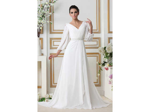 Sequins Beading Wedding Dress with Sleeves   free-classifieds-usa.com