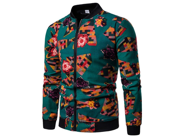 Patchwork Stand Collar Zipper Mens Casual Jacket | free-classifieds-usa.com