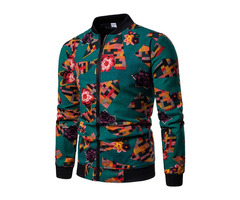 Patchwork Stand Collar Zipper Mens Casual Jacket