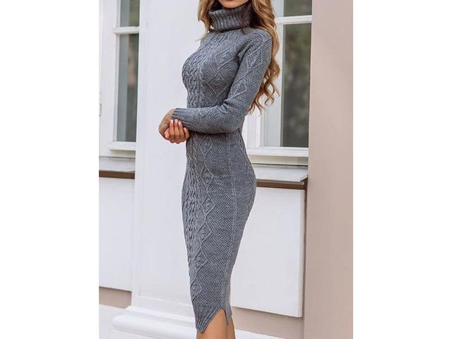 Turtleneck Long Sleeve Mid-Calf Casual Plain Womens Dress | free-classifieds-usa.com