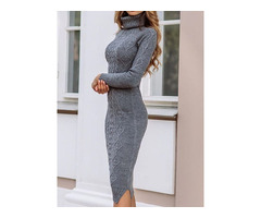 Turtleneck Long Sleeve Mid-Calf Casual Plain Womens Dress