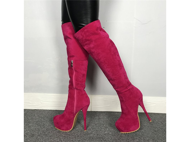Customized Side Zipper Round Toe Knee Boots | free-classifieds-usa.com