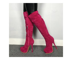 Customized Side Zipper Round Toe Knee Boots