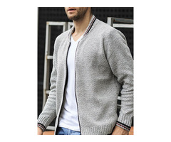 Standard Color Block Zipper Mens Sweater