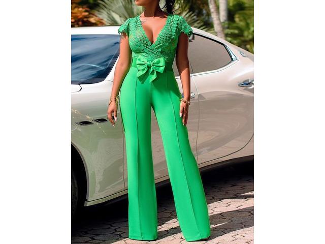 Bowknot Plain Office Lady Slim High Waist Womens Jumpsuit | free-classifieds-usa.com