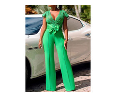 Bowknot Plain Office Lady Slim High Waist Womens Jumpsuit