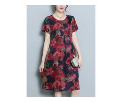 Floral Print Short Sleeve Pocket Dress