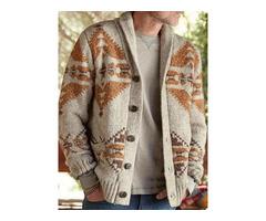 Geometric Lapel Standard Single-Breasted Mens Sweater
