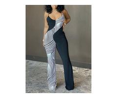 Fashion Full Length Print Bellbottoms Slim Womens Jumpsuit