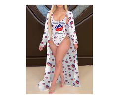 Sexy Letter One Piece Womens Swimwear