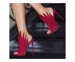 Red Peep-Toe Stiletto Heel Prom Shoes