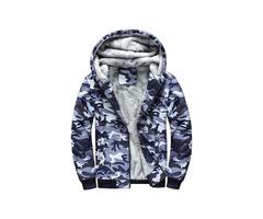 Hooded Camo Fleece Zipper Winter Mens Hoodie