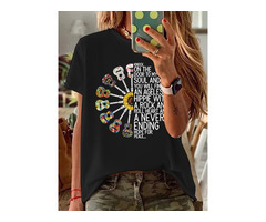 Short Sleeve Round Neck Floral Casual Loose Womens T-Shirt