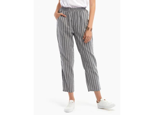 Fashion Elastic Waist Striped Harem Pants with Pockets | free-classifieds-usa.com
