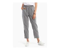 Fashion Elastic Waist Striped Harem Pants with Pockets