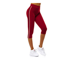 Stripe Polyester Female Mid-Calf Pants