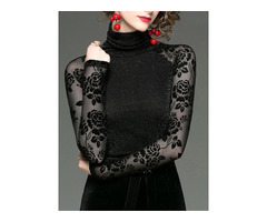 Regular Turtleneck Lace-up Patchwork Long Sleeve Standard Womens Blouse