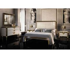 Diamante Bedroom Set in Gold & Light Beige For Sale