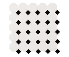 Shop For Metro Octagon Matte White and Black Porcelain Mosaic Tile