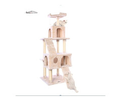 65% off 56 Inches Multi-Level Cat Tower with Sisal-Coverd Scratching Posts and Plush Perches