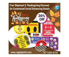 Free Shipment & 20% Thanksgiving Discount on Customized Social Distancing Decals