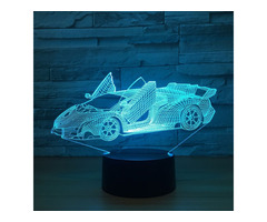 Cool Super Car Acrylic 3D Lamp 7 Color Change Small Night Light