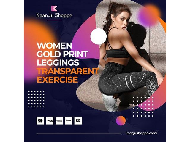 Women Gold Print Leggings Transparent Exercise - Kaanjushoppe.com | free-classifieds-usa.com