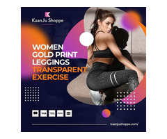 Women Gold Print Leggings Transparent Exercise - Kaanjushoppe.com
